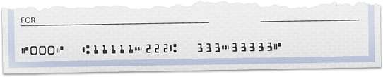 Cheque showing transit and account number
