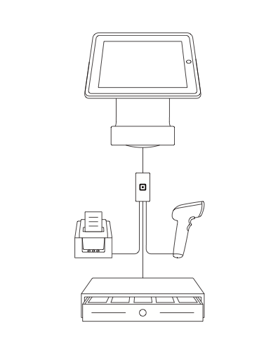 Square Stand and connected hardware accessories